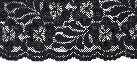 black lace: Decorative lace with pattern on white background