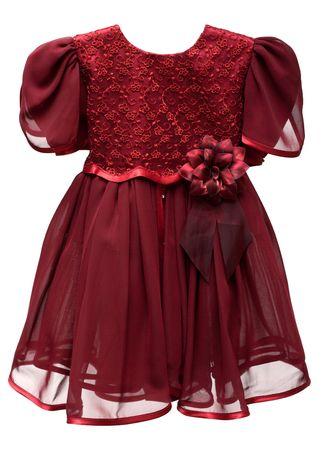 Natty crimson baby gown on white background photo