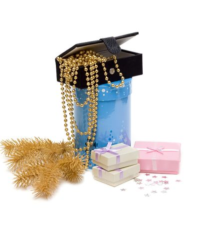 Gift of the box and necklace on white background photo