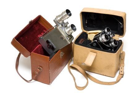 Two old photoes of the camera on white background photo