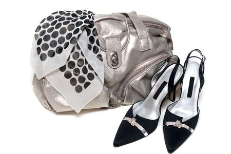 Silvery feminine leather bag and pair of the loafer on white background