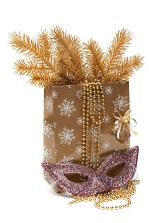 Cristmas gift package, mask and fur branches on white background Stock Photo - 6311851