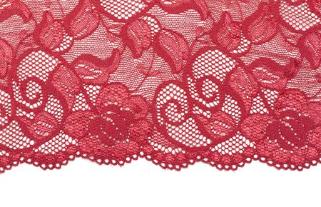 lace fabric: Red decorative lace with floral pattern Stock Photo