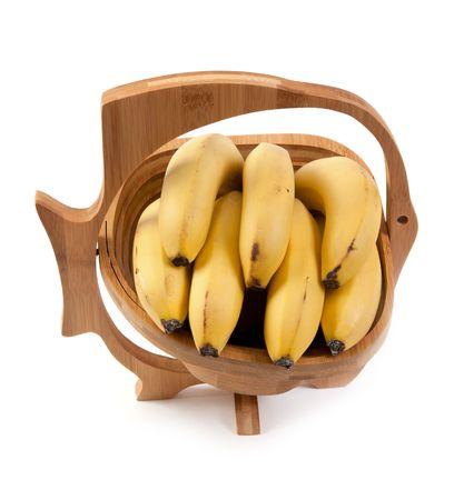 Wooden vase with ligament banana on white background Stock Photo - 6311833
