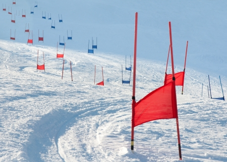 slalom: Ski gates with flag red and blue parallel slalom