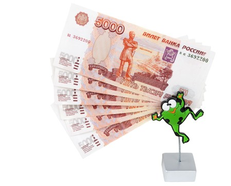 roubles: Bills 5000 roubles in stand in the manner of frogs on white background