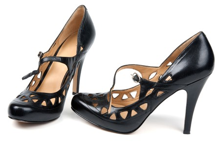 loafers: Pair black feminine loafers on high heel on white background