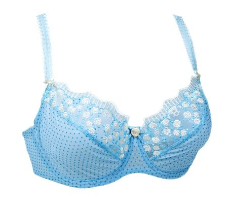 sexy bra: Blue bra with pattern insulated on white background