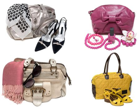 feminine bags, loafers and accessory insulated on white background. photo