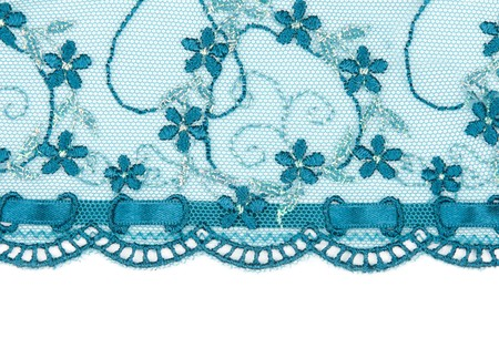 manner: Blue lace with pattern in the manner of colour on white background Stock Photo