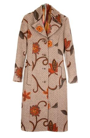 Feminine brown winter coat insulated on white background