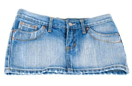 Jeans mini skirt on white background type behind photo