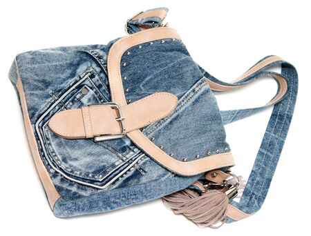 an insertion: Feminine jeans bag with leather insertion on white background