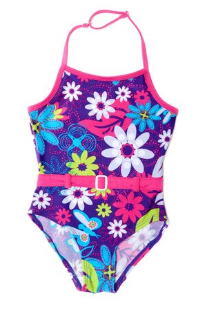 Baby colour swimsuit in red belt on white background photo