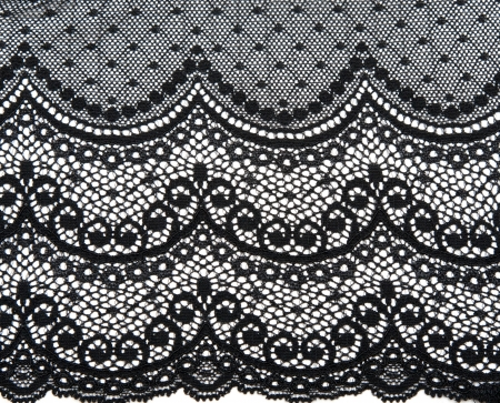 lace fabric: Decorative black lace on insulated white background Stock Photo