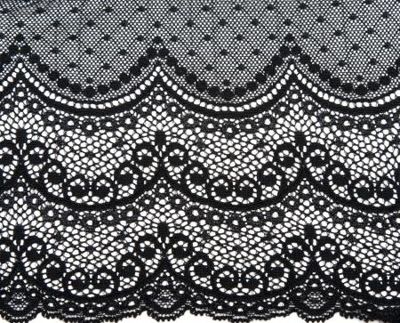 black lace: Decorative black lace on insulated white background Stock Photo