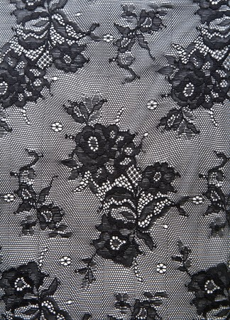 black lace: Black lace with pattern from flower on white background
