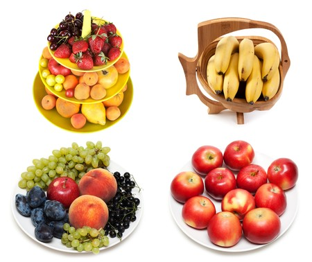 Сollage from fruit on plate insulated on white background. It Is formed from several pictures photo