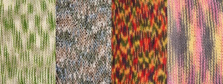 photographies: Collage from four knitted backgrounds. Picture is stuck from several photographies Stock Photo