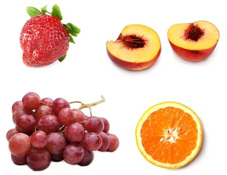Collage from fresh ripe fruit grape, peach, strawberries and orange on white background. Picture is stuck from several photographies photo