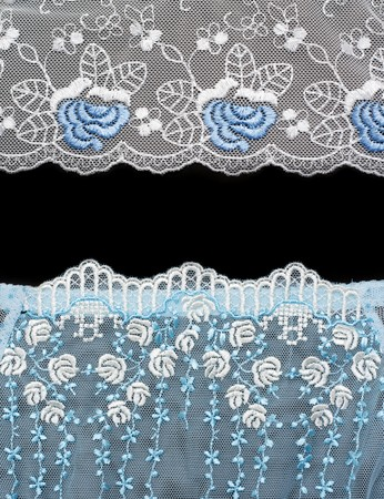 Collage lace with blue pattern in the manner of flower. Picture is formed from several photographies photo