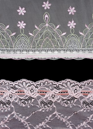 Collage lace with pattern on black background.Picture is stuck from several photographies photo