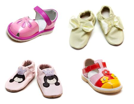 photographies: Collage from baby sandals on white background. Picture is stuck from several photographies