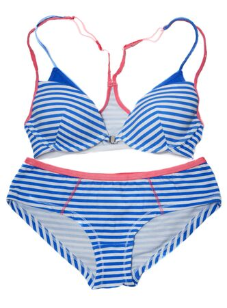Striped swimsuit with blue line on white background photo