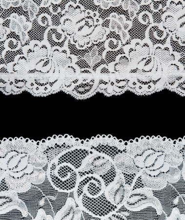 Decorative lace with pattern on black background. Picture is formed from several photographies Stock Photo - 8002264