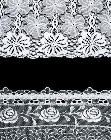 Decorative lace with pattern on black background. Picture is formed from several photographies photo