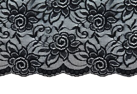 Black lace with pattern with form flower on white background Stock Photo - 8090036