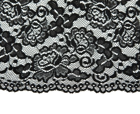 lace fabric: Black lace with pattern with form flower on white background Stock Photo