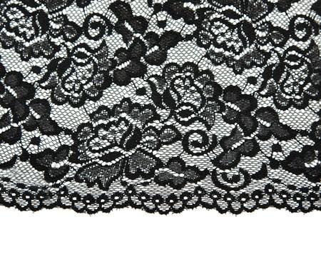Encaje negro con patr�n con forma de flor sobre fondo blanco  Foto de archivo - 8090031