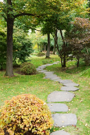 Path from stone in autumn park with green herb and tree Stock Photo