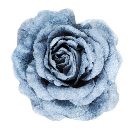 white fabric: Blue fabrics rose insulated on white background Stock Photo