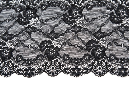 black fabric: Black lace with pattern with form flower on white background Stock Photo