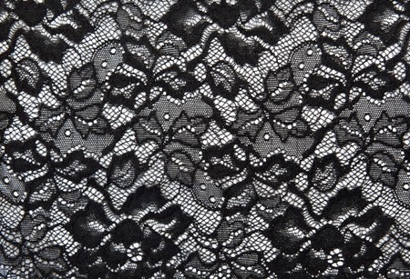 lace fabric: Background from black lace with pattern with form flower on white