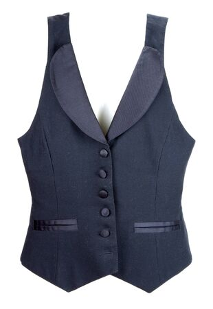 Black vest with button insulated on white background