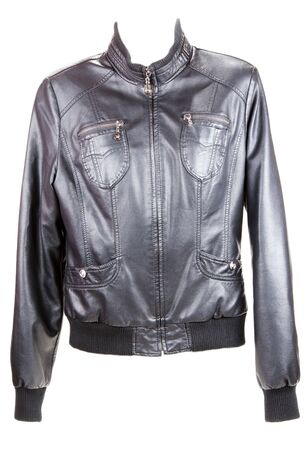 Black leather jacket insulated on white background Stock Photo - 8318992