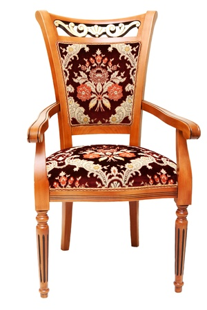 Beautiful wooden chair with expensive drapes from velvet fabrics on white background Stock Photo - 8369624