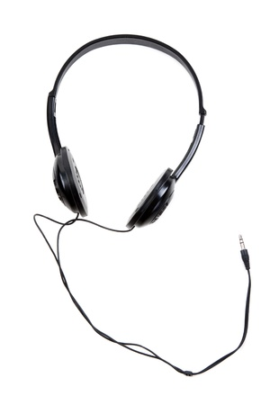 jackplug: Black earphones with wire and jackplug on white background