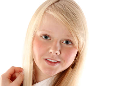 Portrait of the young beautiful blonde insulated on white background Stock Photo - 8460802