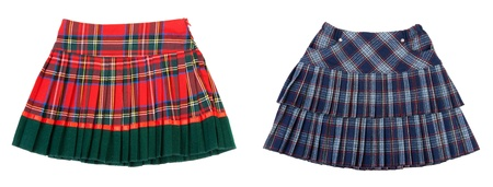 photographies: Collage two striped skirts on white background. Picture built from several photographies
