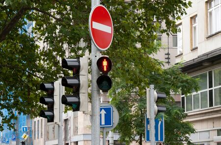 prohibits: Sign prohibits travel and traffic lights on Fore green tree