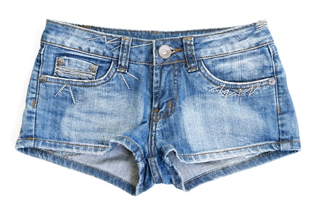 women in jeans: Blue jean shorts with a white background