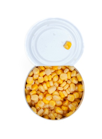 Open a bank with corn on a white background Stock Photo - 8590332