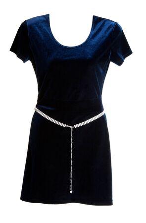 velvet dress: Blue velvet dress with silver belt on a white background