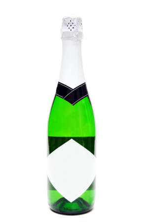 gold capped: Bottle of champagne with a blank label on a white background
