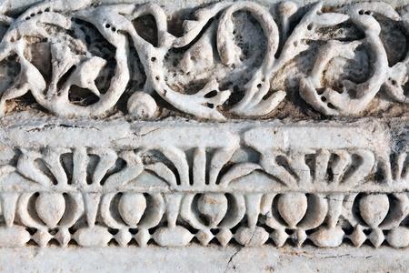 Carved patterns in the old white marble Reklamní fotografie