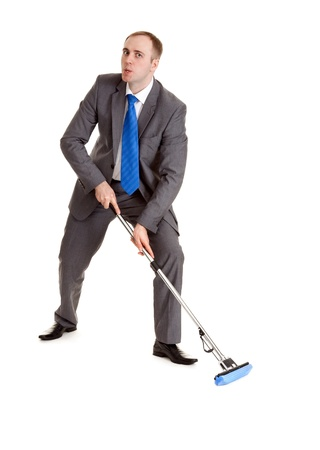 Businessman in a gray suit with a blue mop Stock Photo - 8604589
